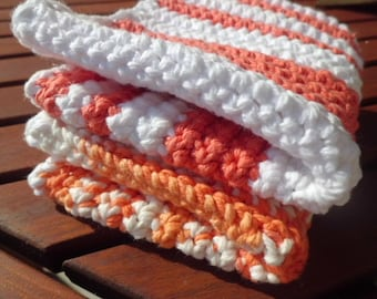Spa Washcloths, Choose Your Colors, Crocheted Kitchen or Bath Wash Cloths, Crocheted Cotton Dish Cloths,