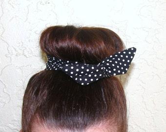 "Wire Bun Wrap, Top Knot Wire Wrap White Polka Dots on Black ""Mini"" Dolly Bow Wire Ponytail Hair tie Hair Bun Tie Wrap"