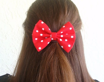 Vintage Inspired Red with White Polka Dots Hair Bow Clip Rockabilly Pin up Teen Woman Alligator Clip or French Barrette