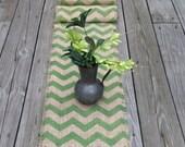 Burlap True Green Chevron Table Runner 12 or 14x36, 48 or 60 Modern-Rustic Home Decor by sweetjanesplan