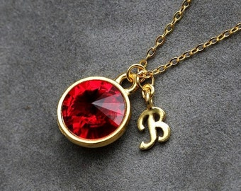 Gold Initial Birthstone Jewelry, January Garnet Necklace, New Mother, Bridesmaids, Letter Jewelry, Initial Necklace