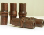 Vintage Wood Beads - large bamboo shape - dark brown - 4 pieces