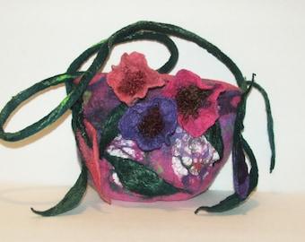 Anemones Purse  nuno felt wool purse OOAK