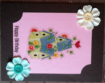 "Happy Birthday Card ""Bird House"" handmade birthday card."