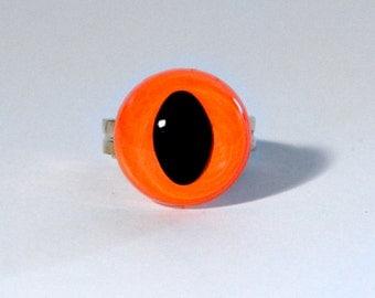 Neon Orange Cat Eye Ring