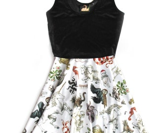Freak of Nature Print Velvet Flare Dress
