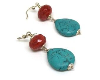 Turquoise and Carnelian Dangling Sterling Silver Earwire Earrings, ER-0099