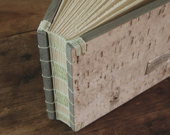 custom birch bark wedding cabin guest book wood  personalized book -rustic spring wedding - cabin vacation home guestbook made to order
