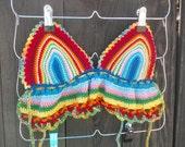 Crochet Halter Top - Rainbow Top - Hippie Top - Bikini Top - Festival Top - Crop Top - Summer Fashion