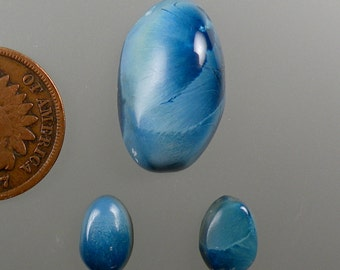 Shattuckite Blue Velvet Hand Cut Cabochon Set from Africa, free U.S. shipping