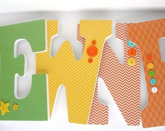 Wood Letters for Nursery - Green, Yellow, and Orange - Unisex Bedroom - Boy Nursery