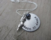 """Inspiration Necklace- """"born to dance"""" with ballet shoe charm and an accent bead in your choice of colors"""