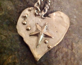 Large Bronze Heart Pendant - Catch a Falling Star -  33mm Tall Large Artisan Heart Charm -  APB2rr