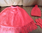 Warm Winter Poncho Set, Child SZ 4-6, Cabled, bright Peach/Orange, Fringed, Super Warm and cozy