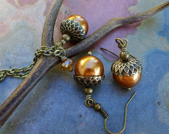 Acorn Copper Necklace and Earring Set - Fall Autumn Jewelry, Fall Bridal/Wedding jewelry Set, Copper Pearl Necklace and Earring SET