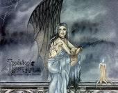 SALE: Gargoyle Fairy Art Print / Fantasy Art / Gargoyle Statue / Gothic Art / Dark Faery / Candles / Spiderwebs / Jacqueline Collen-Tarrolly