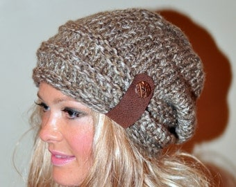 Slouchy Beanie Slouchy Hat Button Knit Crochet Winter Women Hat Wool CHOOSE COLOR Birch Brown Tweed Girly Gift under 50