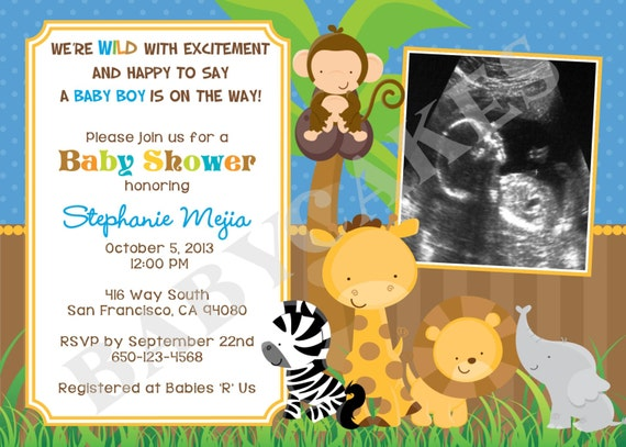 Safari Jungle Animals Baby Shower Invitation Sonogram - DIY Print Your Own - Matching Party Printables available