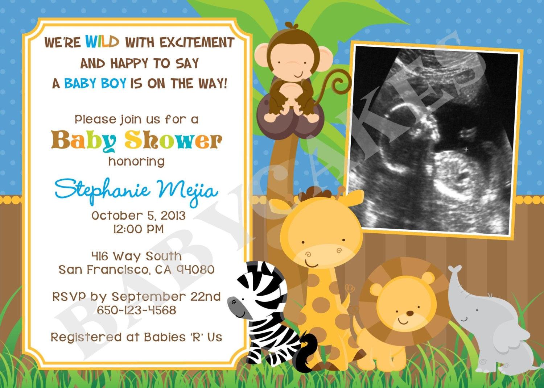 safari jungle animals baby shower invitation sonogram diy