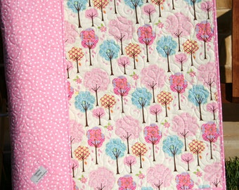 SALE Baby Girl Quilt, Pretty Little Things, Modern Bedding, Nursery Crib Blanket, Pink Aqua Adorable Trees, Wholecloth Dena Designs Designer