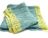 Childrens Blanket - Blue leaf throw - Hand knitted mohair throw with hand painted lemon & lime edging - TheFeminineTouch
