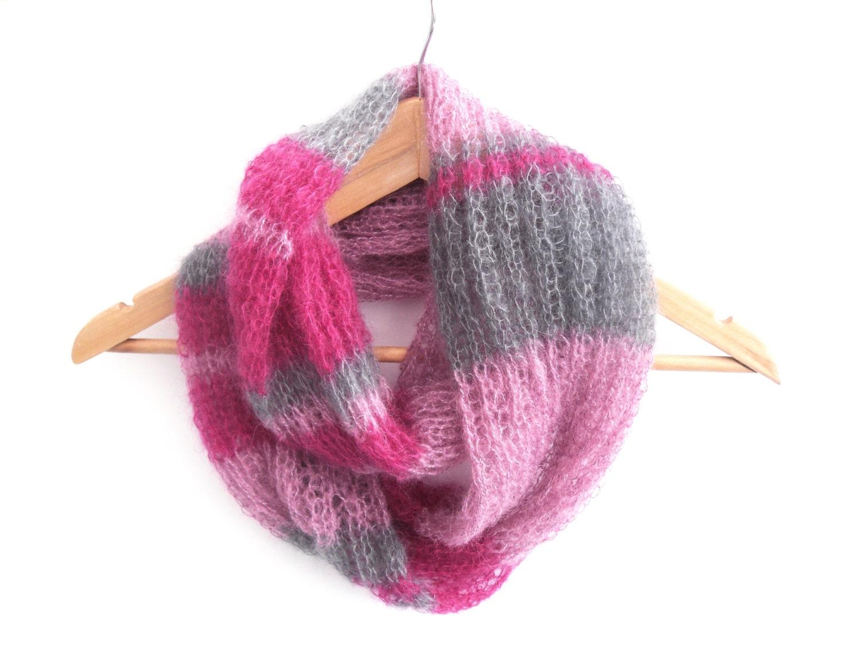 Striped Infinity Scarf Knitting Pattern : Hand knit infinity scarf striped mohair cowl by TheFeminineTouch