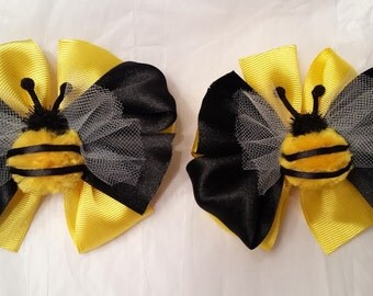 2 Bumble bee girls hair bows