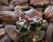 Miniature Fishing Float Earrings - Emerald Green with dark aged hemp