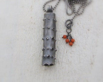 Silver Necklace - Oxidized Silver Pendant - Tribal Pendant - Long Silver Pendant