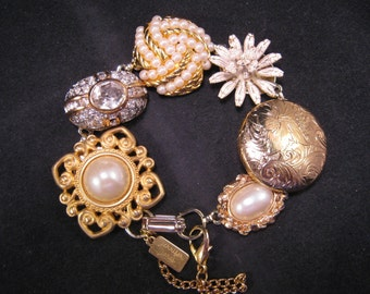 Bridesmaid Gift, Vintage Earring Bracelet, Wedding, Upcycled, Gold, Rhinestone, Statement, Jennifer Jones, Under 40,  OOAK - Majestic