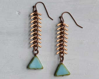 Fish Earrings ... Seafoam Turquoise with Copper Vintage Chain Fish Skeleton