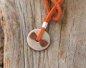 Round Silver Pendant, Copper Silver Pendant, Orange Long Necklace, Unique Silver and Copper Necklace