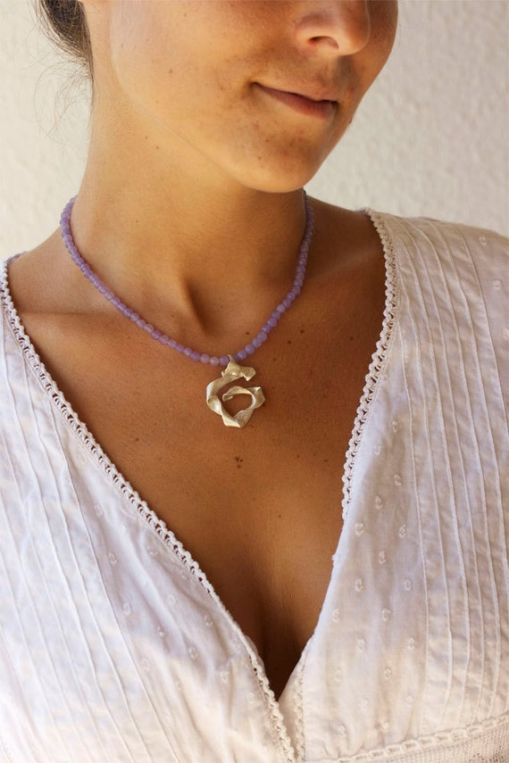 Purple Lavender Necklace - Silver Charm Necklace- Purple Summer Necklace