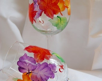 Fall leaves wine glasses - hand painted - set of 2