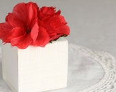 Ivory Linen Mini Gift Box with Red Vintage Flower. Shabby Chic.