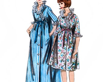 Butterick 3770 Vintage 60s Misses' Robe in Two Lengths Sewing Pattern - Uncut - Size 10 - Bust 31