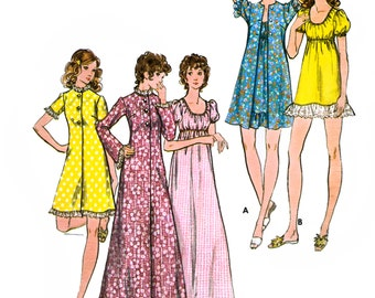 Butterick 6589 Vintage 70s Misses' Robe and Gown Sewing Pattern - Uncut - Size 8 - Bust 31.5
