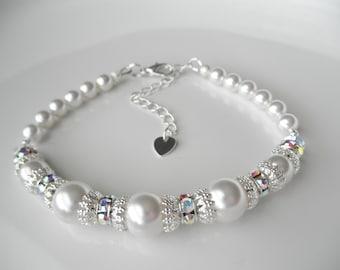 Bridal Bracelet with White Swarovski Pearls and Crystal AB Rondelles - Prom Bracelet - Wedding Bracelet, Pearl Bridal Jewelry, Beach Wedding