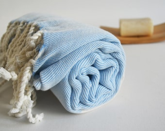 Bathstyle Turkish BATH Towel Peshtemal - SOFT - Blue Color - Wedding Gift, Beach, Spa, Swim, Pool Towels and Pareo