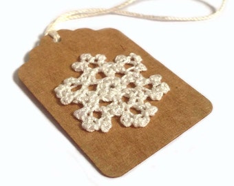 "Gift Tags, 5 - 2.25""x1.5"" Hand Crocheted Snowflake on Kraft Brown Holiday Gift Tags, Made Using Repurposed, Recycled Materials, Hand Punched"