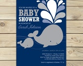 Boy Whale Baby Shower Invitation Printable - Navy Blue Gray - Boy Whale Baby Shower Invites - Nautical Baby Invitation - Summer Baby Shower