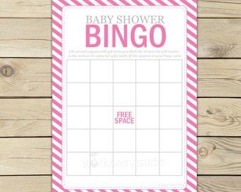 Hot Pink Baby Shower Bingo Game - Girl Baby Shower Games Printable - Instant Download - Baby Shower Ideas - Bingo Cards - Shower Activities