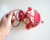 RED Koi and Kiku - Kimono Accessory Drawstring Pouch