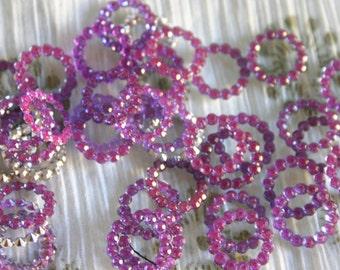 Irridescent Purple - Bollywood Rhinestone circles 16mm (6)