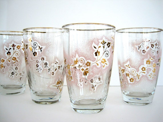 Vintage Glass Tumblers Duchess Pink Flowers Stanley Home