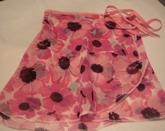 """Ballet Wrap Skirt, 14"""" Adult, Chiffon Print of Pink, Black and White Flowers"""