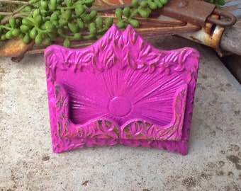 Magenta Cast Iron Shabby Chic Business Card Holder -Wedding -Place Card Holder-Rustic Beach Glass- Metal Decor-Summer Collection