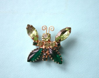 Vintage Green Butterfly Rhinestone Brooch Pronged with Gold Tone Spring Jewelry