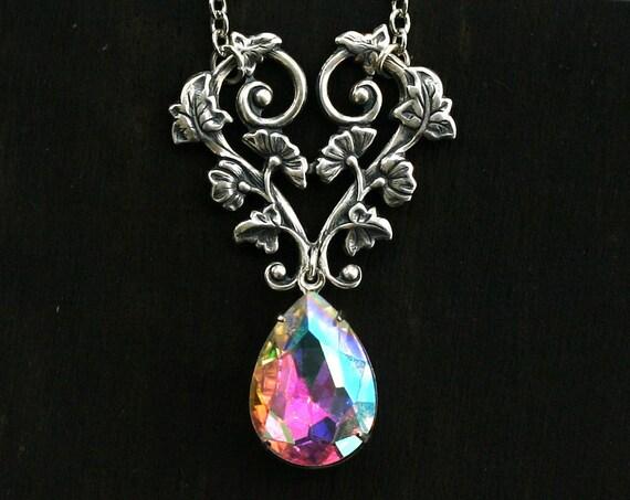 Victorian Aurora Borealis Crystal Teardrop Necklace