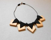 Statement Necklace-Geometric Necklace, Wood, Leather, Gift Idea